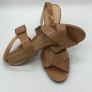 J. Crew Sydney Sandals in Tan Patent Leather sz 9